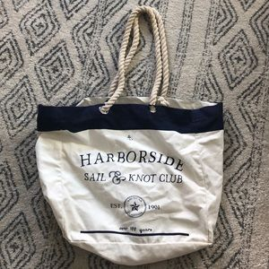 Adorable canvas and rope beach bag!